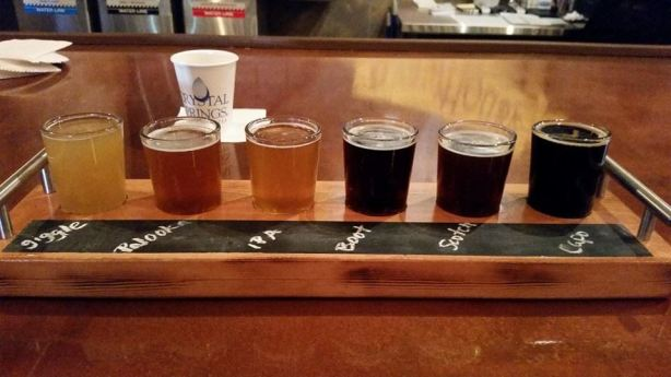 Six of the seven beers available at Firkin Brewhouse.