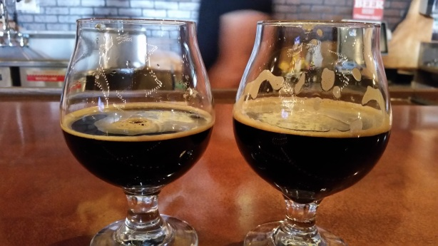 The original Capo's Java Stout, left, and the newer, more coffee-centric version.