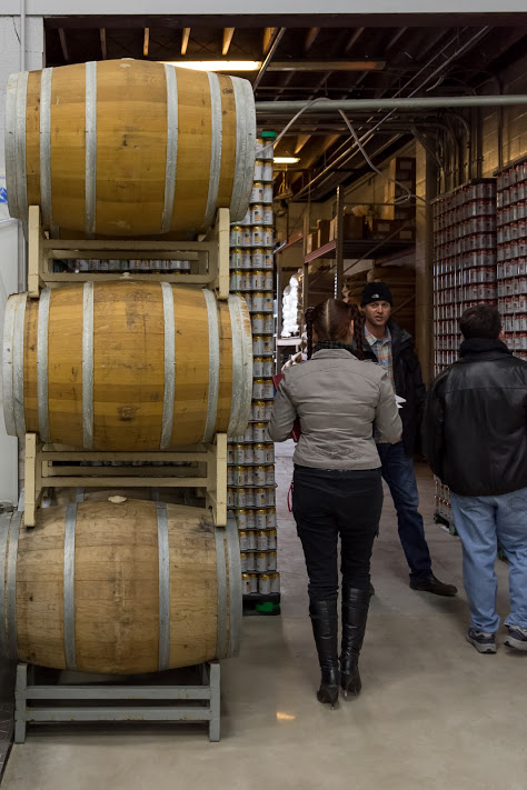 Those barrels will move toward the expansion's west wall, while the canning line will be behind where Ted is standing.