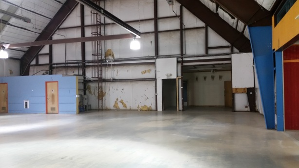 The 30-barrel brewhouse will be over there in the left corner where the bathrooms currently are (those will move to the opposite end for the taproom).
