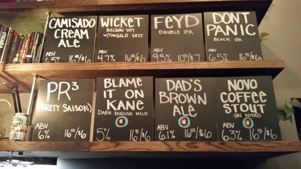 The beer board at Our Mutual Friend. Points for creative names.