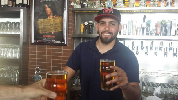 Bartender James was all smiles serving up Marble's Saison #1 at Rock & Brews.