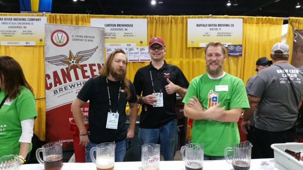 Cheers to New Mexico beers from the Canteen staff (and a random volunteer).