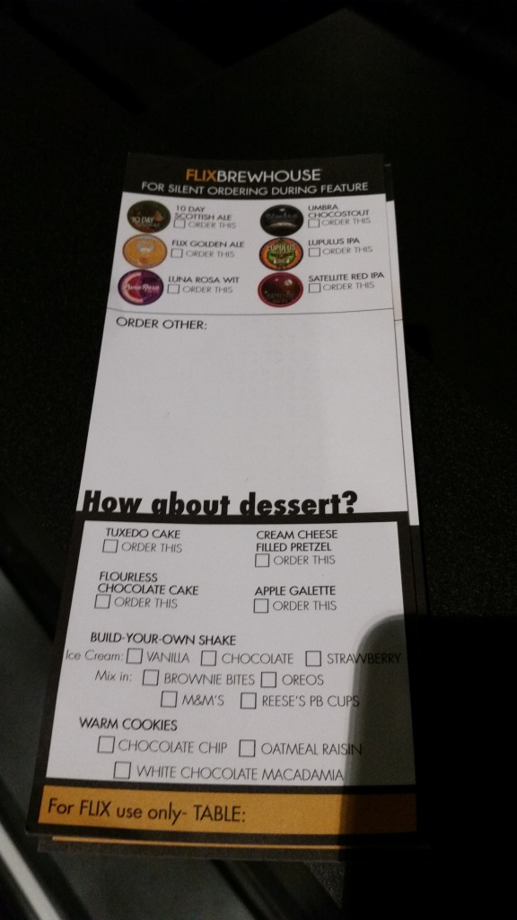 Your in-theater ordering forms.