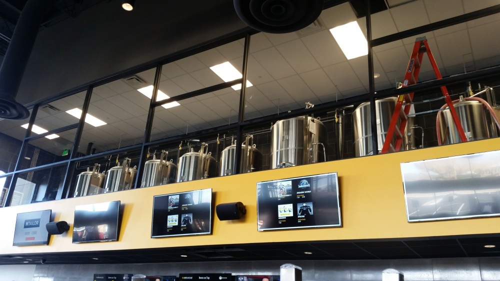 The serving tanks at Flix are above the bar area.