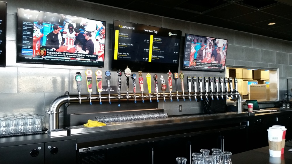 A whole lotta beer is available at Flix. There is another set of taps to the right of these.