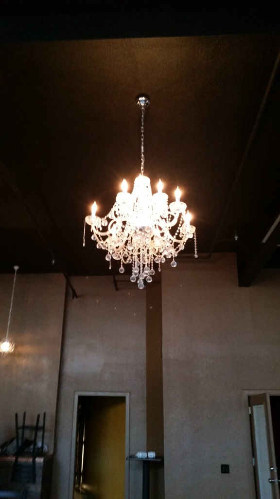 Carri insisted on a lot of chandeliers for Side Effex.