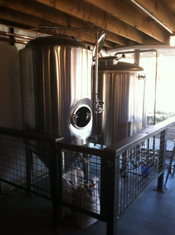 The brewing equipment is ready to go.