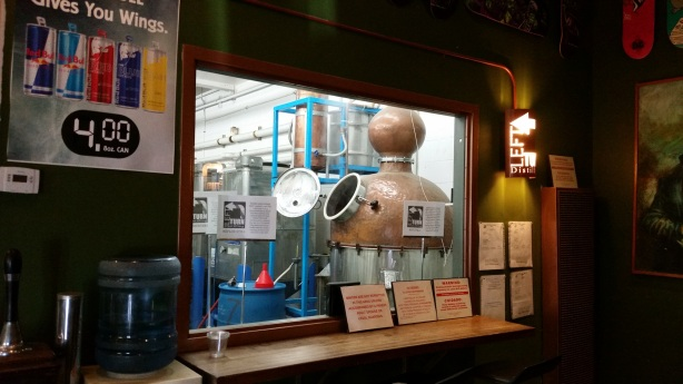 You can stop by and enjoy a beer while watching Brian do the distilling, too.