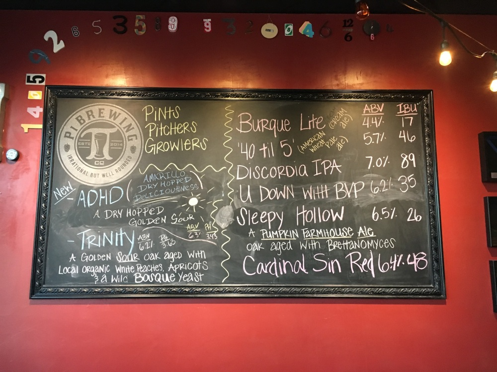 The beer board at Pi greets you right as you walk in the front door.