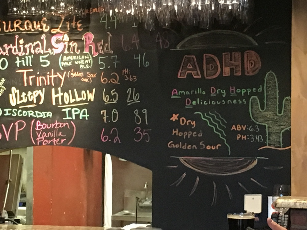 There is a second beer board above the taps.