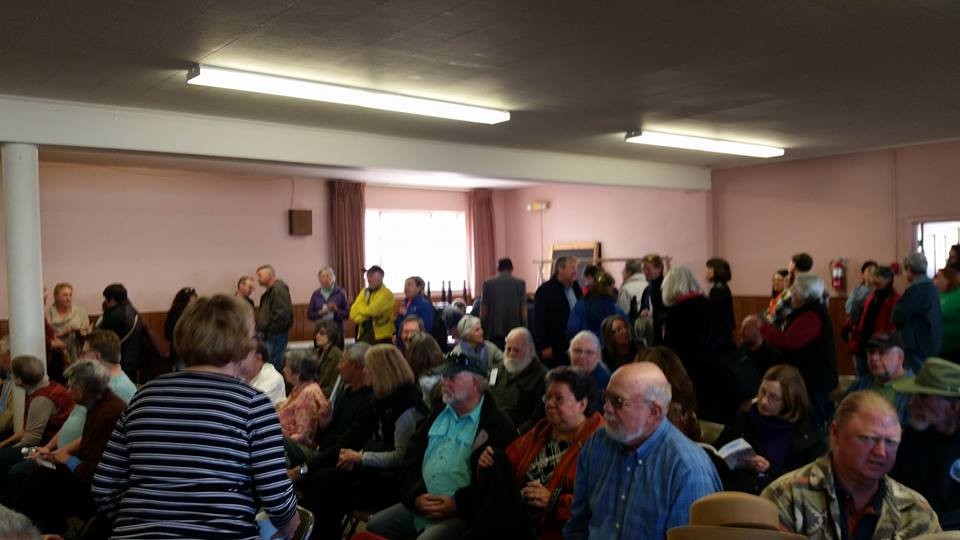 The mostly older crowd that attended the town hall. By the time it started, there was almost no room to move in the north room of the church.