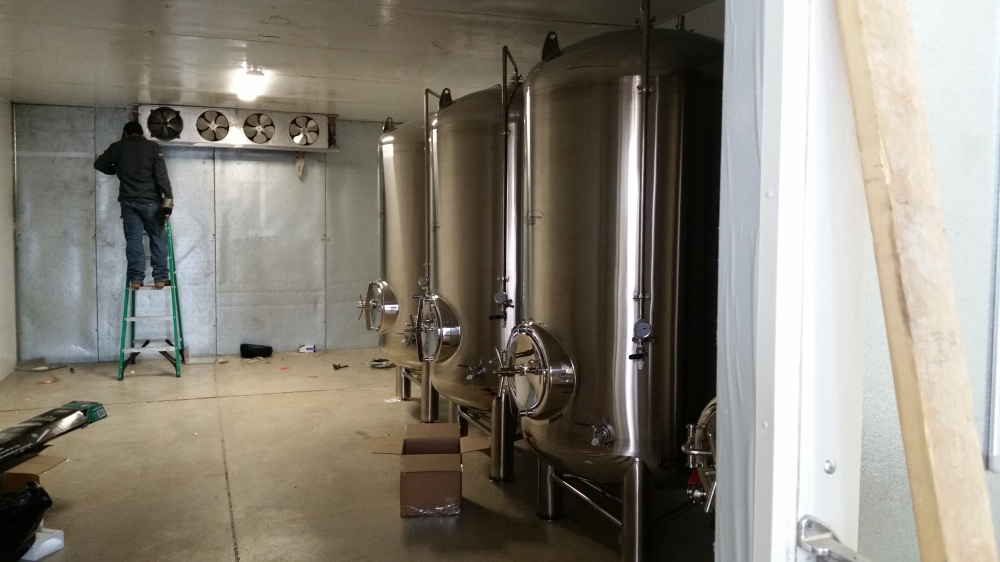 The new walk-in cooler is quite a bit larger than its predecessor.